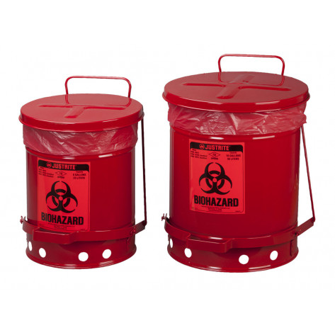 Biohazard Waste Can, 6 gallon, foot-operated self-closing cover, Red.