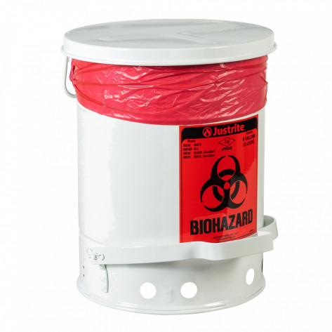 Biohazard Waste Can, 6 gallon, foot-operated self-closing cover, White.
