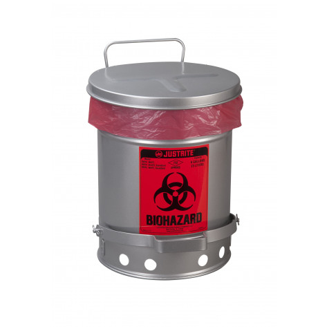 Biohazard Waste Can, 6 gallon, foot-operated self-closing SoundGuard  cover, Silver.