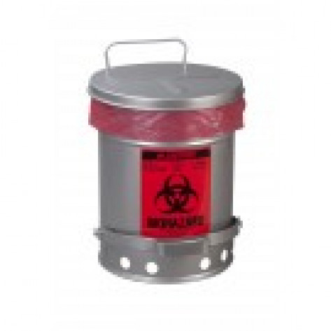 Biohazard Waste Can, 10 gallon, foot-operated self-closing SoundGuard  cover, Silver.