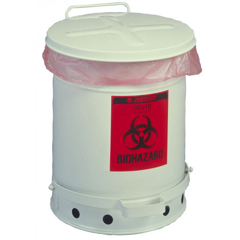 Biohazard Waste Can, 6 gallon, foot-operated self-closing SoundGuard  cover, White.