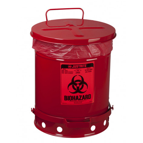 Biohazard Waste Can, 10 gallon, foot-operated self-closing cover, Red.