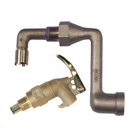 Brass Drum Siphon Adapter No. 08311 For Draining Thirty And Fifty-Five Gallon Drums, With Brass Self-Closing Faucet No. 08902