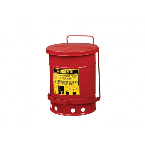 Oily Waste Can, 6 gallon, foot-operated self-closing SoundGuard  cover, Red.