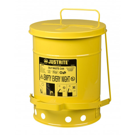 Oily Waste Can, 10 gallon, foot-operated self-closing cover, Yellow.