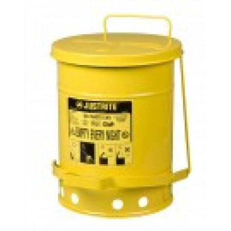 Oily Waste Can, 6 gallon, foot-operated self-closing cover, Yellow.