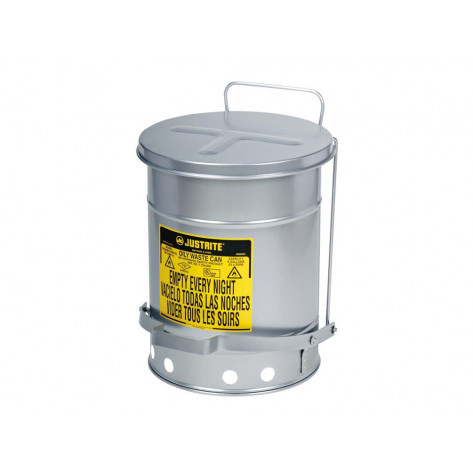 Oily Waste Can, 14 gallon, foot-operated self-closing SoundGuard  cover, Silver.