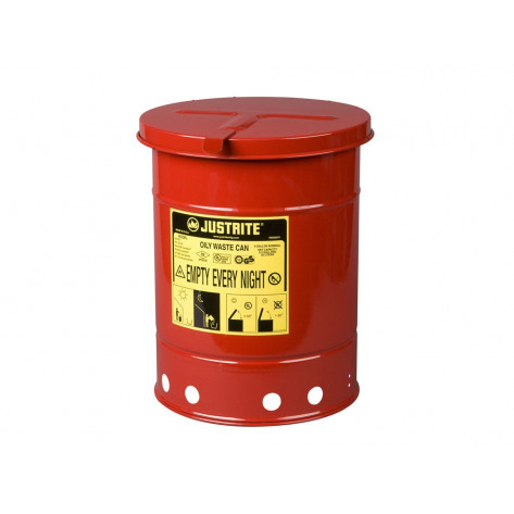 Oily Waste Can, 14 gallon, hand-operated cover, Red.