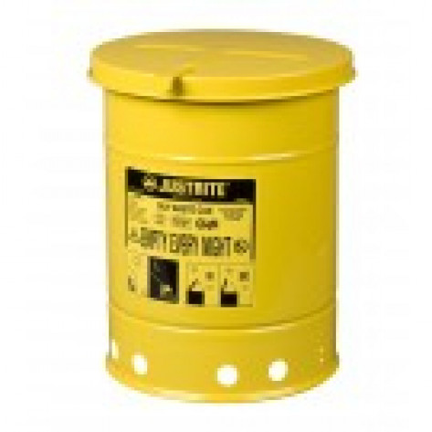 Oily Waste Can, 21 gallon, hand-operated cover, Yellow.