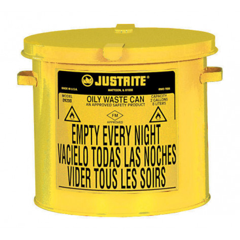 Countertop Oily Waste Can accepts small wipes and swabs, 2 gallon, Yellow.
