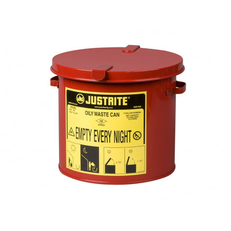 Oily Waste Countertop Can accepts small wipes and swabs, 2 gallon, Red.