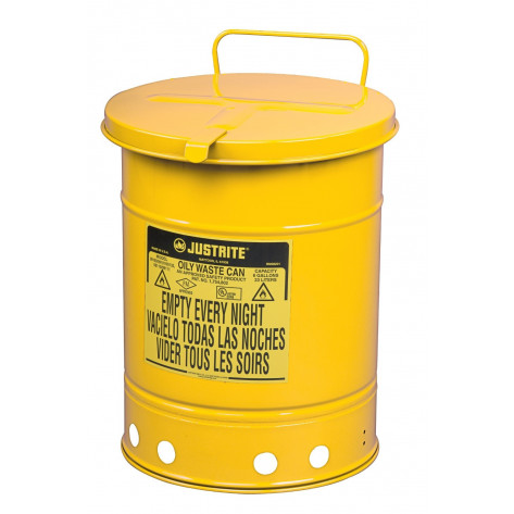 Oily Waste Can, 10 gallon, hand-operated cover, Yellow.