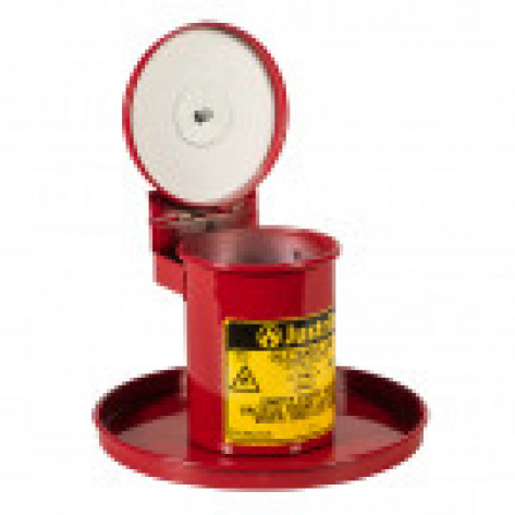 Benchtop Solvent Safety Can for long cotton tipped applicators, .45 GAL, self-closing lid, Red.