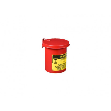 Oily Waste Mini Benchtop Can for long cotton-tip applicators, .45 gallon, SoundGuard  cover, Red.