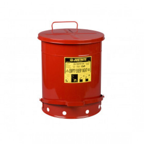 Oily Waste Can, 14 gallon, foot-operated self-closing SoundGuard  cover, Red.