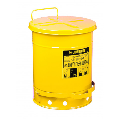 Oily Waste Can, 14 gallon, foot-operated self-closing cover, Yellow.
