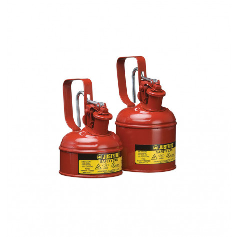 Type I Safety Can w/Trigger-handle for flammables, S/S flame arrester, 1 pint, s/c lid, Steel, Red.