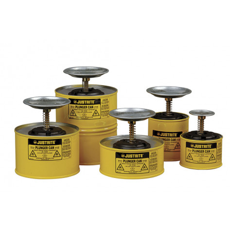 Plunger Dispensing Can, 1 pint, perforated pan screen serves as flame arrester, Steel, Yellow.