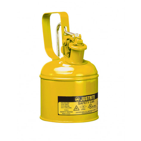 Type I Safety Can w/Trigger-handle for flammables, S/S flame arrester, 1 quart, s/c lid, Steel, Yel.