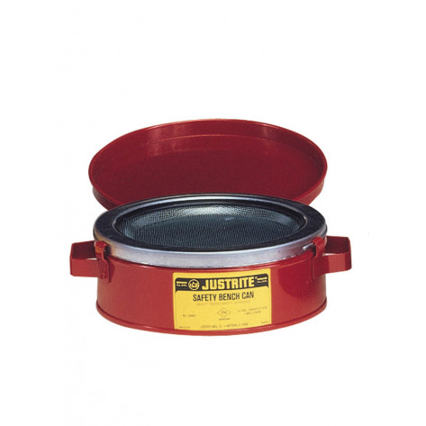 Bench Can to clean small parts in solvents, 1 quart, plated steel dasher, hinged cover, Steel, Red.