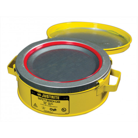 Bench Can to clean small parts in solvents, 2 litre, plated steel dasher, hinged cover, Steel, Yellow.