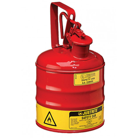 Type I Safety Can w/Trigger-handle for flammables, S/S flame arrester, 1 GAL, s/c lid, steel, Red.