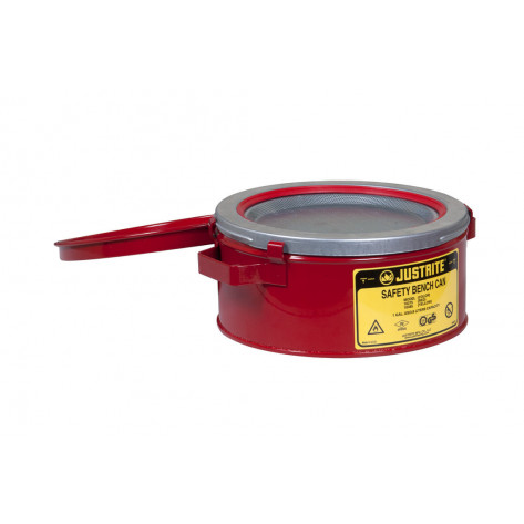 Bench Can without Parts Basket, 1 gallon, plated steel dasher, hinged cover, Steel, Red.