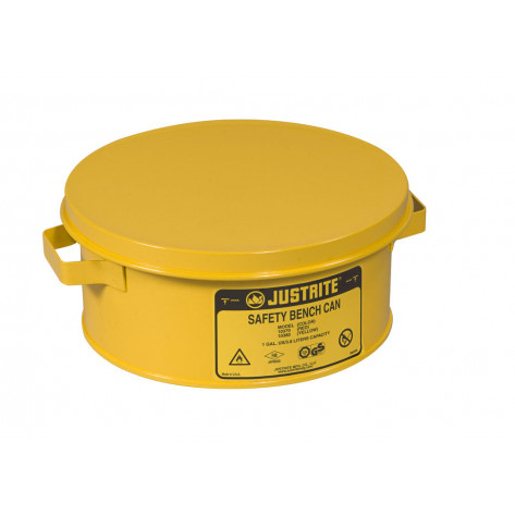 Bench Can without Parts Basket, 4 liter, plated steel dasher, hinged cover, Steel, Yellow.