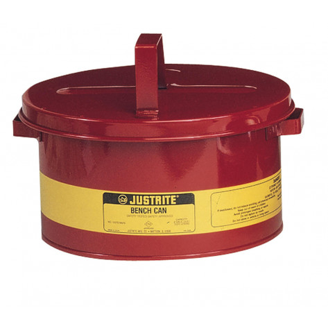 Bench Can to clean small parts in solvents, 2 gallon, plated steel dasher, hinged cover, Steel, Red.