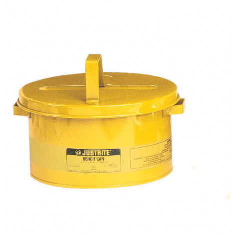 Bench Can to clean small parts in solvents, 8 litre, plated steel dasher, hinged cover, Steel, Yellow.