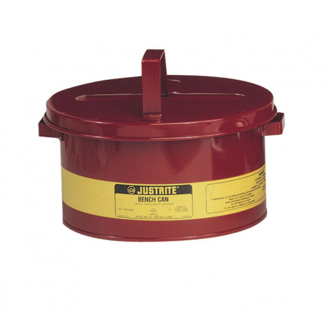 Bench Can to clean small parts in solvents, 3 gallon, plated steel dasher, hinged cover, Steel, Red.