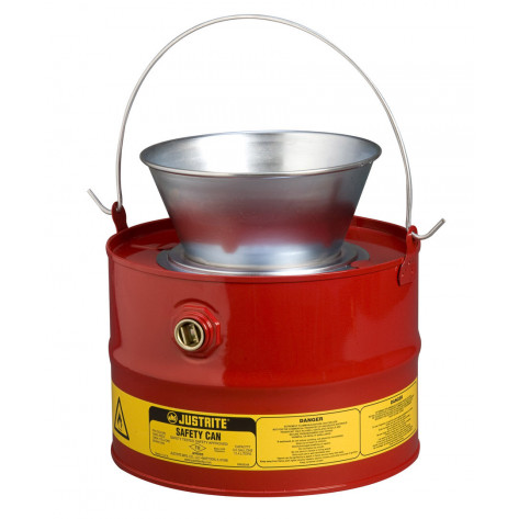 Drain Can with plated steel funnel, 3 gallons, flame arrester, Steel, Red. Optional can cover.