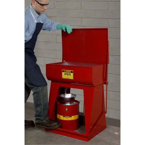 Drain Can with plated steel funnel, 5 gallons, flame arrester, Steel, Red. Optional can cover.