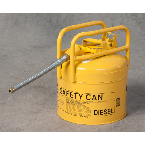 """5 Gal Yellow Galvanized Steel Type II Style Safety Can  w/7/8"""" Flexible Hose"""