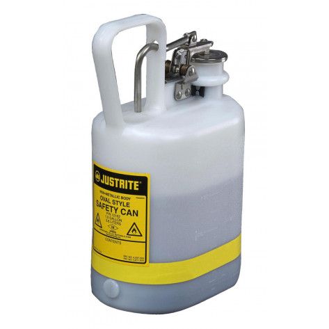 Oval Safety Can for flammables, S/S hardware, flame arrester, 1 gallon, self-close cap, poly, White.