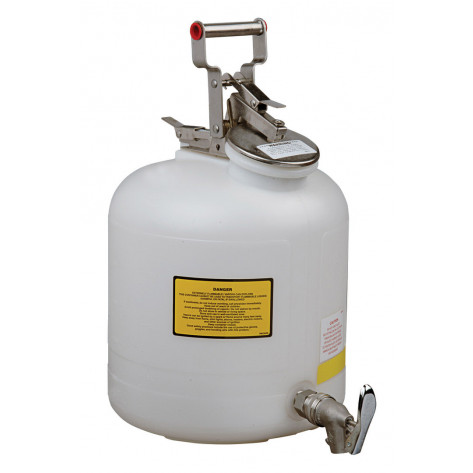 Safety Can for Liquid Disposal, S/S hardware, 5 gallon, S/S faucet, flame arrester, polyethylene, White.