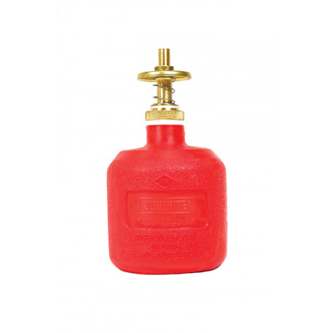 Dispensing Can, Non-metallic, with brass dispenser valves, 8 ounce, polyethylene, Red.