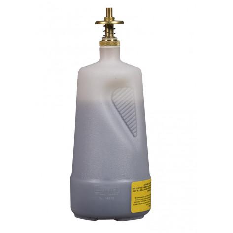 Dispensing Can, Non-metallic, with brass dispenser valves, 1 quart, translucent polyethylene, White.