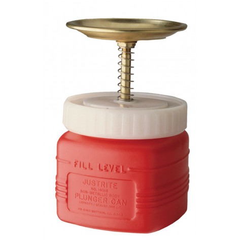 Plunger Dispensing Can, Non-metallic, perforated screen serving as flame arrester, 1 qt., poly, Red.