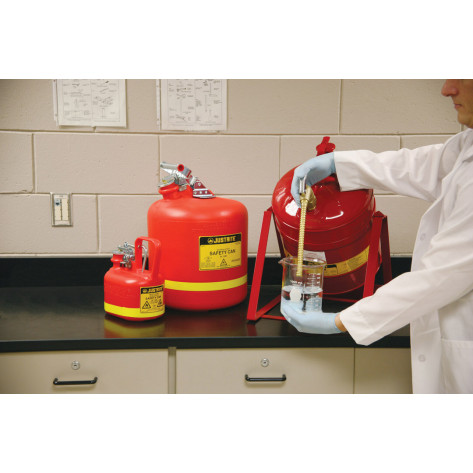 Oval Safety Can for flammables, S/S hardware, flame arrester, .5 gallon, self-close cap, poly, Red.