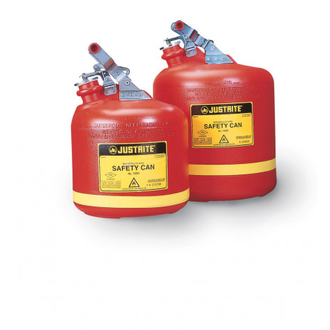Type I Safety Can, Round Non-metallic, S/S hardware, 2.5 gallon, flame arrester, polyethylene, Red.