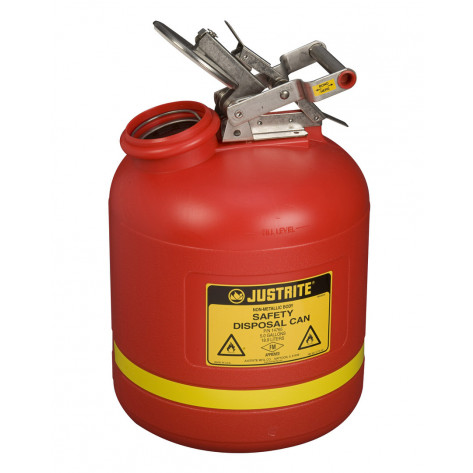 Safety Can for Liquid Disposal, S/S hardware, 5 gallon, flame arrester, polyethylene, Red.