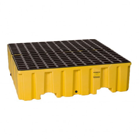 4 Drum Yellow Containment Pallet w/Drain