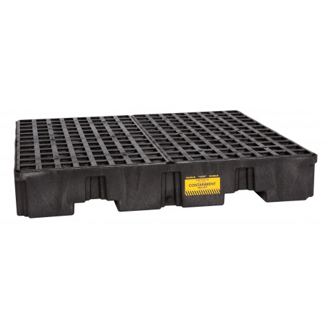 4 Drum Black Low Profile Containment Pallet w/Drain