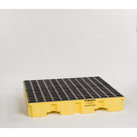 4 Drum Yellow Low Profile Containment Pallet-No Drain