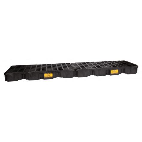 4 Drum Black In-line Containment Platform w/Drain