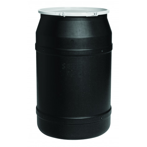 55 GAL Straight Sided Drum (Black) w/Poly Lever Lock & Bung Lid