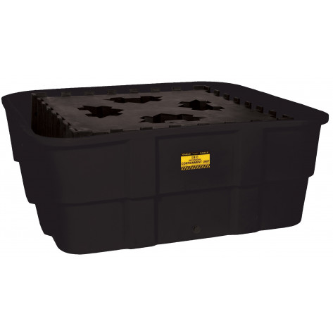 IBC Containment Unit-All Poly Tub and Platform - Black w/Drain