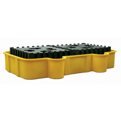 Double All-Poly IBC Containment Unit w/Poly Platforms - Yellow w/Drain