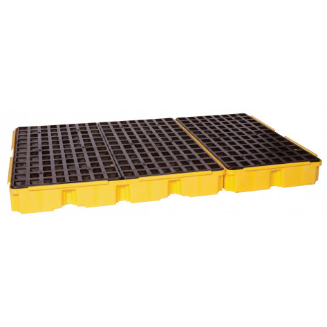 6 Drum Yellow Containment Platform w/Drain